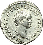 obverse:  Domiziano (81-96). Denario, 81 d.C.