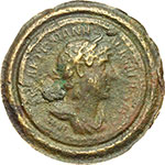 obverse:  Adriano (117-138). Denario coniato (o fuso?) in bronzo entro un anello contorniato, 119-122.