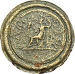 reverse:  Adriano (117-138). Denario coniato (o fuso?) in bronzo entro un anello contorniato, 119-122.