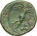 reverse:  Apulia meridionale, Hyria   Teruncius, c. 210-150 a.C.
