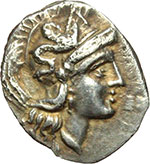 obverse:  Calabria, Tarentum   Diobolo, 380-325 a.C.