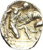 reverse:  Calabria, Tarentum   Diobolo, 380-325 a.C.