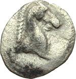 obverse:  Calabria, Tarentum   3/8 di obolo, 302-281 a.C.