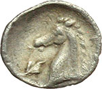 reverse:  Calabria, Tarentum   3/8 di obolo, 302-281 a.C.