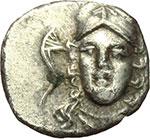 obverse:  Calabria, Tarentum   Diobolo, ca. 280-228 a.C.