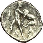 reverse:  Calabria, Tarentum   Diobolo, ca. 280-228 a.C.