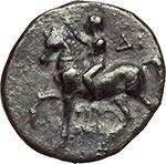 obverse:  Calabria, Tarentum   Nomos, 262-235 a.C.