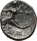 reverse:  Calabria, Tarentum   Nomos, 262-235 a.C.