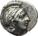 obverse: Lucania, Thurium. Triobolo, ca. 443-400 a.C