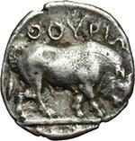 reverse: Lucania, Thurium. Triobolo, ca. 443-400 a.C