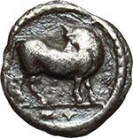 obverse:  Lucania, Sibari   Triobolo, ca. 510-475 a.C.