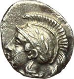 obverse:  Lucania, Thurium   Triobolo, ca. 443-400 a.C.