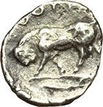 reverse:  Lucania, Thurium   Triobolo, ca. 443-400 a.C.