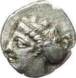 obverse:  Bruttium, Terina   Triobolo, 400-356 a.C.