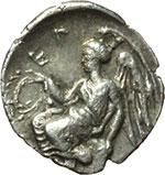reverse:  Bruttium, Terina   Triobolo, 400-356 a.C.