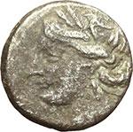 obverse:  Bruttium, zecca incerta  Annibale. Quarto di shekel, 216-211 a.C.