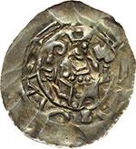 obverse:  Aquileia  Imitazione dei Denari Frisacensi (secoda metà del XII sec.) Denaro con legenda retrograda