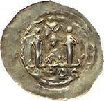 reverse:  Aquileia  Imitazione dei Denari Frisacensi (secoda metà del XII sec.) Denaro con legenda retrograda