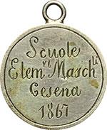 obverse:  Cesena  Scuole Elementari Maschili Medaglia 1867 Studio e Lavoro