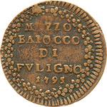 reverse:  Foligno  Pio VI (1775 -1799) Mezzo baiocco 1795 A. XXI