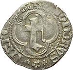 obverse:  Marchesato del Monferrato  Teodoro II Paleologo (1381-1418) Mezzo grosso, Chivasso.