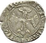 reverse:  Marchesato del Monferrato  Teodoro II Paleologo (1381-1418) Mezzo grosso, Chivasso.