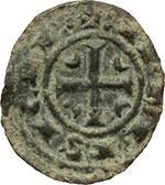 reverse:  Messina  Corrado II (1254-1258) Mezzo denaro C tra crescenti.