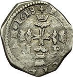 reverse:  Messina  Filippo III (1598-1621) 3 tarì 1618.