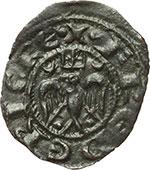 obverse:  Messina e Brindisi  Federico II (1197-1250) Mezzo denaro coniato a Messina per le nozze con Costanza d Aragona