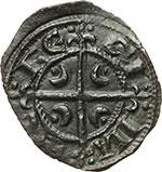 reverse:  Messina e Brindisi  Federico II (1197-1250) Mezzo denaro coniato a Messina per le nozze con Costanza d Aragona