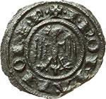 obverse:  Messina e Brindisi  Federico II (1197-1250). Mezzo denaro 1245