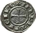 reverse:  Messina e Brindisi  Federico II (1197-1250). Mezzo denaro 1245