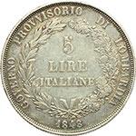 obverse:  Milano  Governo Provvisorio (1848) 5 lire 1848