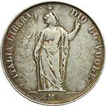 reverse:  Milano  Governo Provvisorio (1848) 5 lire 1848