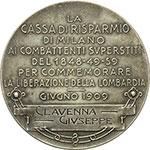 reverse:  Milano   Medaglia 1909 della Cassa di Risparmio di Milano per i combattenti superstiti delle battaglie del Risorgimento. Conferita a Clavenna Giuseppe.