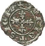 reverse:  Napoli  Carlo II d Angio (1285-1309) Mezzo denaro regale.