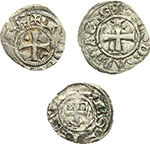reverse:  Lodovico I (1296-1302) Lotto di 3 monete. Baronia di Vaud, Lodovico I (1296-1302). Denaro con il tempio di mistura. Zecca: Nyon. MIR 52. Pesa grammi 0,79. Rara. Base d'asta euri 180,00 – Baronia di Vaud , Lodovico  II (1302-1350). Viennese di mistura. Zecca: Nyon o Pierre Châtel. MIR 74b. Pesa grammi 0,65. Rara. Principato di Acaja: Filippo di Savoia. Denaro tornese di mistura con varianti. Pesa grammi 0,78