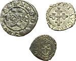 obverse:  Amedeo VI (1343-1383) Lotto di 3 monete. Denaro viennese di I tipo di mistura. Zecca: Pont d'Ain. MIR 93b. Pesa grammi 0,70. Rara. Amedeo VIII Duca (1416-1440). Quarto di I tipo di mistura (Chiablese). Biaggi 126a - MIR 142a. Pesa grammi 1,55. Emanuele Filiberto Duca: Quarto di grosso di I tipo. Zecca: Aosta