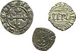 reverse:  Amedeo VI (1343-1383) Lotto di 3 monete. Denaro viennese di I tipo di mistura. Zecca: Pont d'Ain. MIR 93b. Pesa grammi 0,70. Rara. Amedeo VIII Duca (1416-1440). Quarto di I tipo di mistura (Chiablese). Biaggi 126a - MIR 142a. Pesa grammi 1,55. Emanuele Filiberto Duca: Quarto di grosso di I tipo. Zecca: Aosta