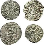 obverse:  Amedeo VIII, Conte (1398-1416) Lotto di 4 monete. Savoia: tre di Amdeo VIII Conte ed una di Carlo Emanuele I. Obolo di bianchetto di mistura II tipo, zecca Nyon o Chambéry (2 pezzi), soldo di II tipo di mistura, zecca Chambéry. Denaro anonimo viennese, pesa grammi 1,04