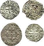 reverse:  Amedeo VIII, Conte (1398-1416) Lotto di 4 monete. Savoia: tre di Amdeo VIII Conte ed una di Carlo Emanuele I. Obolo di bianchetto di mistura II tipo, zecca Nyon o Chambéry (2 pezzi), soldo di II tipo di mistura, zecca Chambéry. Denaro anonimo viennese, pesa grammi 1,04