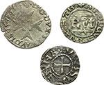 reverse:  Amedeo VIII, Duca (1416-1440) Lotto di 3 monete: 2 sabaude ed una francese. Savoia. Amedeo VIII, Periodo Ducale (1416-1434). Quarto Savoiardo di II tipo. Zecca di Chambéry. Maestro: Giovanni de Masio di Asti. Simonetti 39/14 (variante: Ratto 1932/55). Pesa grammi 1,21. Emanuele Filiberto duca (1559-1580): Parpagliola di mistura della zecca di Bourg en Bresse, lettera: B, maestro: Emanuele Diano. Pesa grammi 1,71. Arcivescovi di Vienne: Denaro anonimo, pesa grammi 1,10