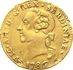 obverse:  Vittorio Amedeo III (1773-1796) Quarto di doppia 1786.