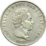 obverse:  Carlo Felice (1821-1831) 5 lire 1827 Genova.