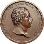 obverse:  Carlo Felice (1821-1831) Medaglia 1824, celebra la regolazione del corso dell Isère.