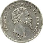 obverse:  Vittorio Emanuele II  (1859-1861) 50 centesimi 1860 F.