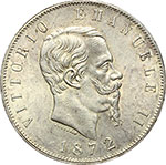 obverse:  Vittorio Emanuele II  (1861-1878) 5 lire 1872 M.