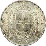 reverse:  Vittorio Emanuele II  (1861-1878) 5 lire 1872 M.