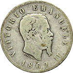 obverse:  Vittorio Emanuele II (1861-1878) 2 lire 1862 Napoli.