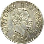 obverse:  Vittorio Emanuele II  (1861-1878) 50 centesimi 1863 T.